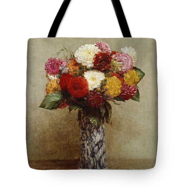 Dahlias In A Chinese Vase Tote Bag by Ignace Henri Jean Fantin-Latour