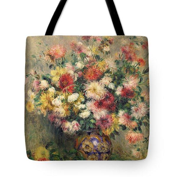 Dahlias Tote Bag by Pierre Auguste Renoir