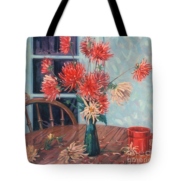 Dahlias With Red Cup Tote Bag by Donald Maier