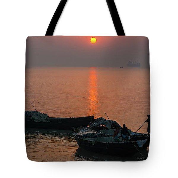 Daily Life Of Boatman Tote Bag