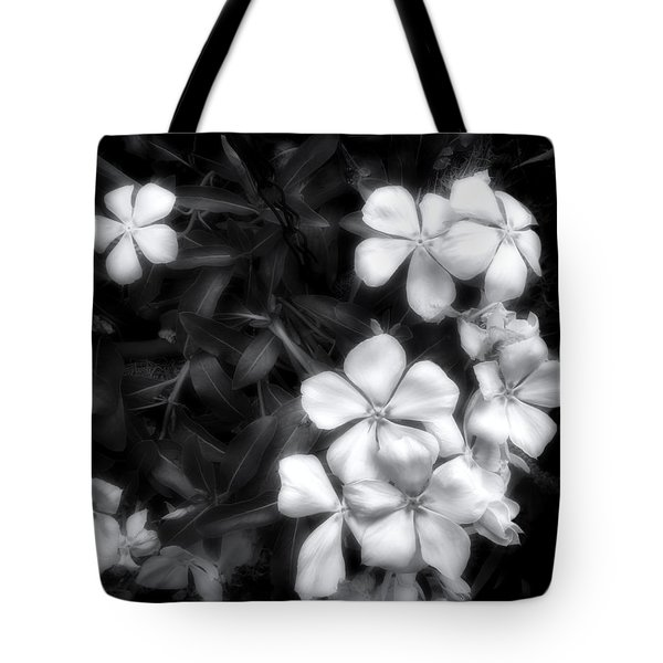 Tote Bag featuring the photograph Dainty Blooms - Black And White Photograph by Ann Powell