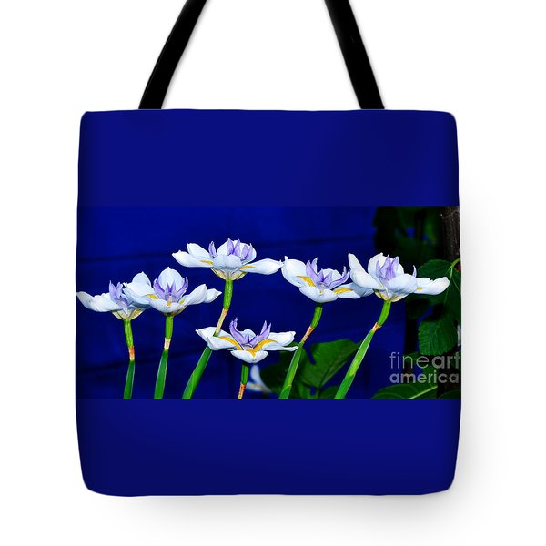 Dainty White Irises All In A Row Tote Bag