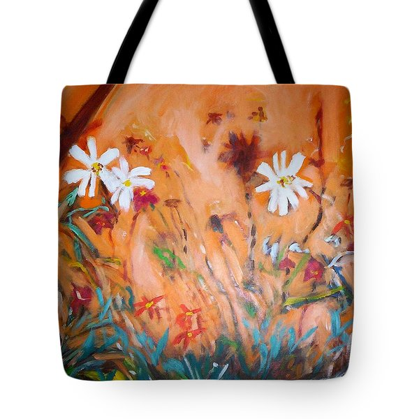 Daisies Along The Fence Tote Bag by Winsome Gunning