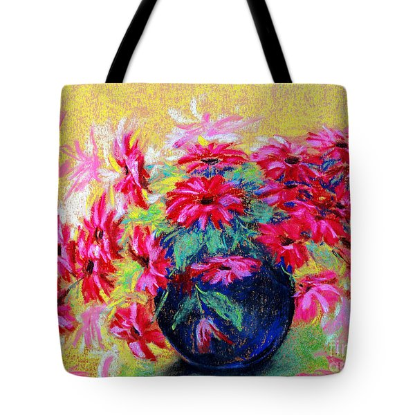 Daisies And Blue Vase Tote Bag by Jasna Dragun