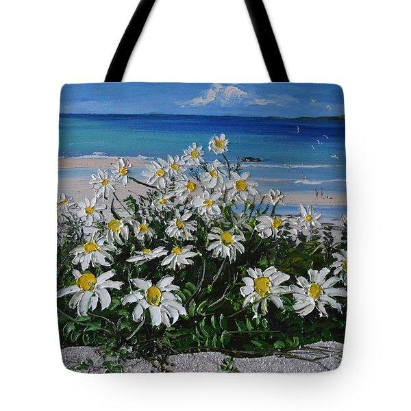 Daisies Coral Strand Connemara Tote Bag by Diana Shephard