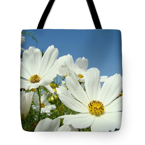 Daisies Flowers Art Prints White Daisy Flower Gardens Tote Bag by Baslee Troutman