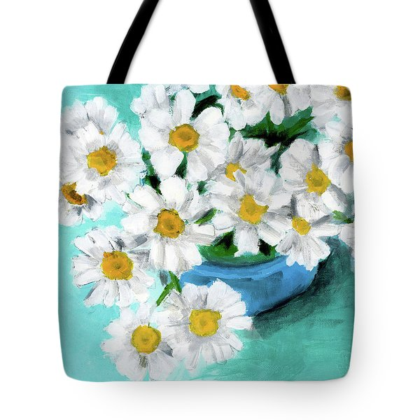 Daisies In Blue Bowl Tote Bag