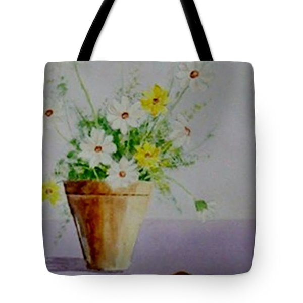 Tote Bag featuring the painting Daisies In Pot by Jamie Frier