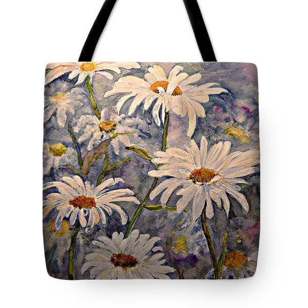 Tote Bag featuring the painting Daisies Watercolor by AmaS Art