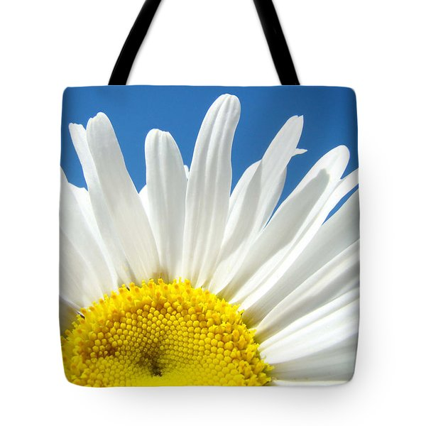 Daisy Art Prints White Daisies Flowers Blue Sky Tote Bag by Baslee Troutman