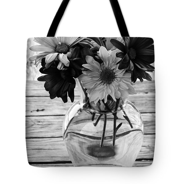 Daisy Crazy Bw Tote Bag by Angelina Vick