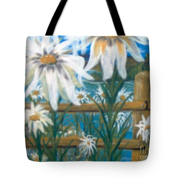 Tote Bag featuring the painting Daisy Dance by Saundra Johnson