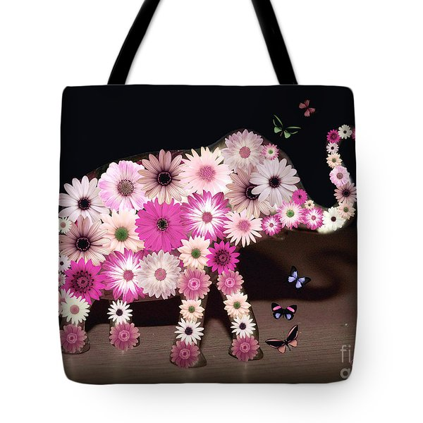 Daisy Elephant Tote Bag by Donna Bentley
