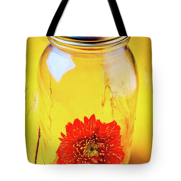 Daisy In Glass Jar Tote Bag by Garry Gay