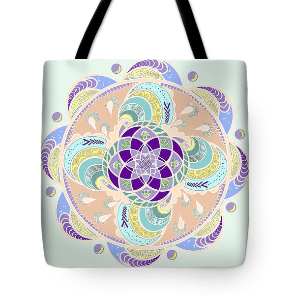 Tote Bag featuring the digital art Daisy Lotus Meditation by Deborah Smith
