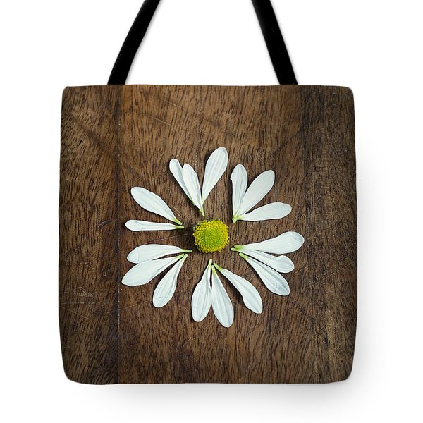 Daisy Petals On Wooden Background  Tote Bag