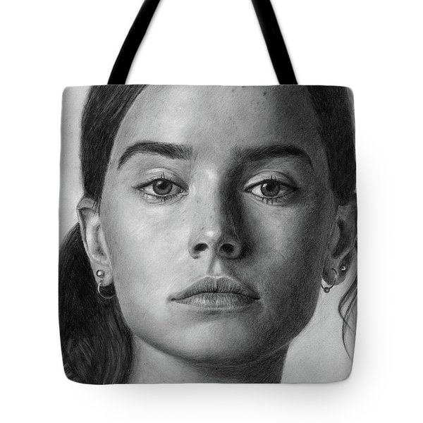Daisy Ridley Pencil Drawing Portrait Tote Bag
