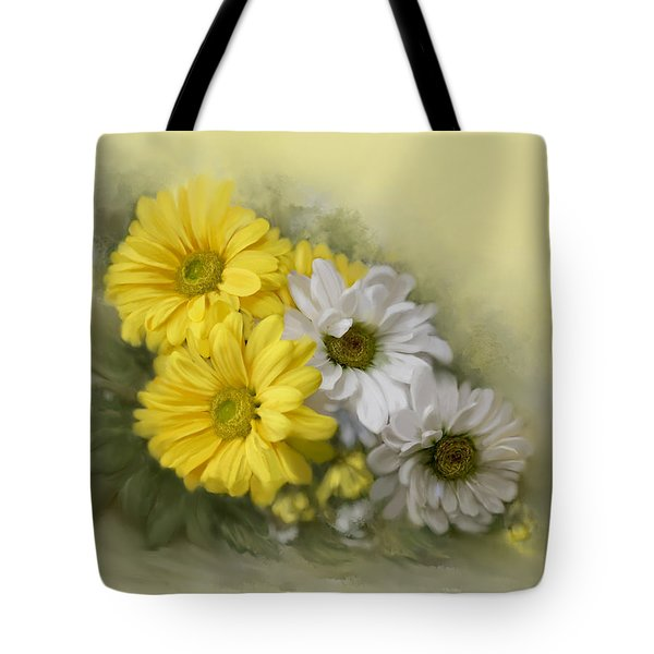 Tote Bag featuring the painting Daisy Spring Bouquet by Bonnie Willis
