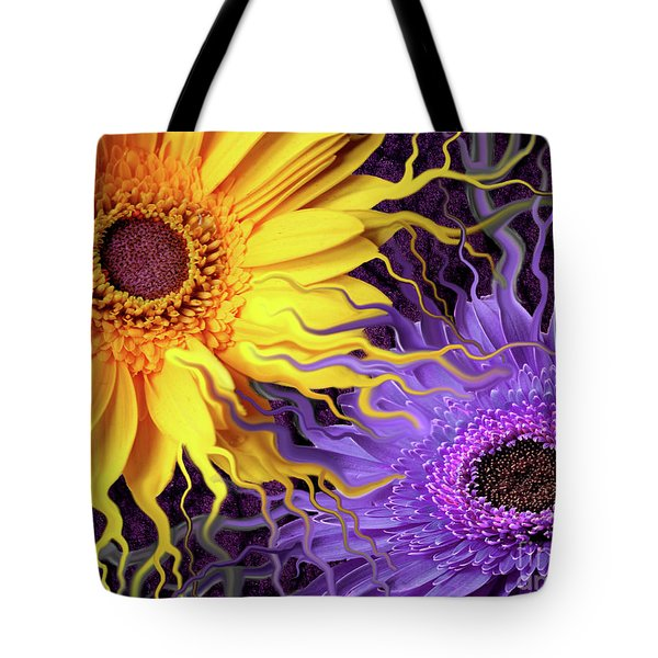 Tote Bag featuring the painting Daisy Yin Daisy Yang by Christopher Beikmann