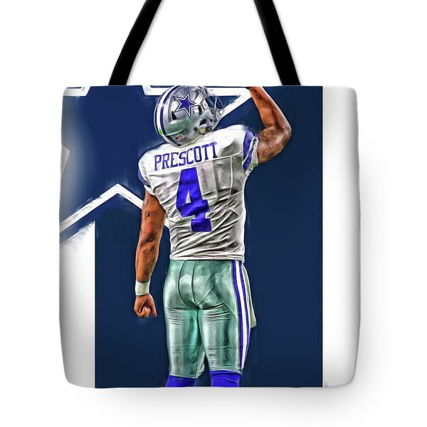 Dak Prescott Dallas Cowboys Oil Art Series 2 Tote Bag