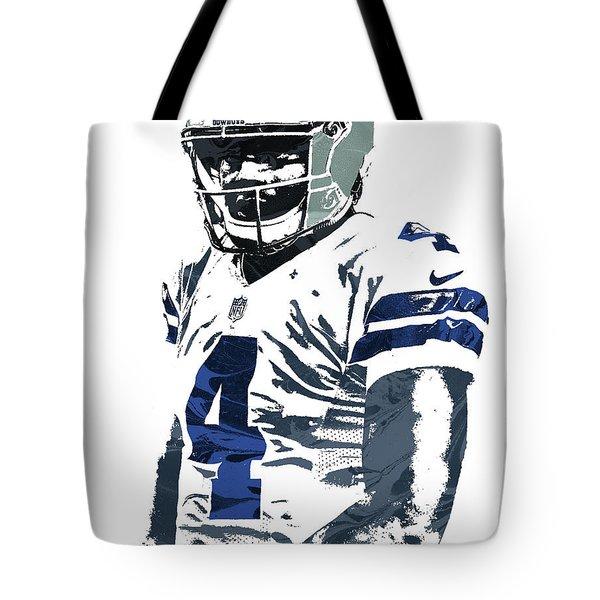 Tote Bag featuring the mixed media Dak Prescott Dallas Cowboys Pixel Art 4 by Joe Hamilton
