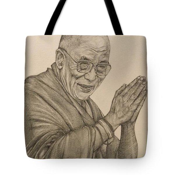 Dalai Lama Tenzin Gyatso Tote Bag by Kent Chua