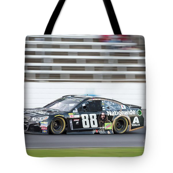 Dale Earnhardt Jr Running Hard At Texas Motor Speedway Tote Bag