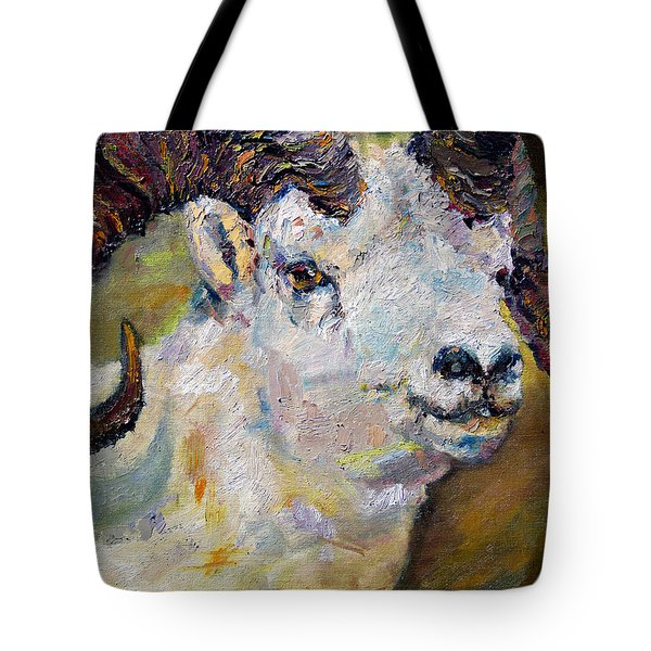 Dall Sheep Ram Oil Painting Tote Bag