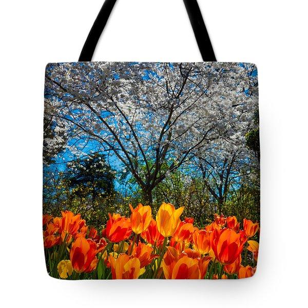 Dallas Arboretum Tulips And Cherries Tote Bag