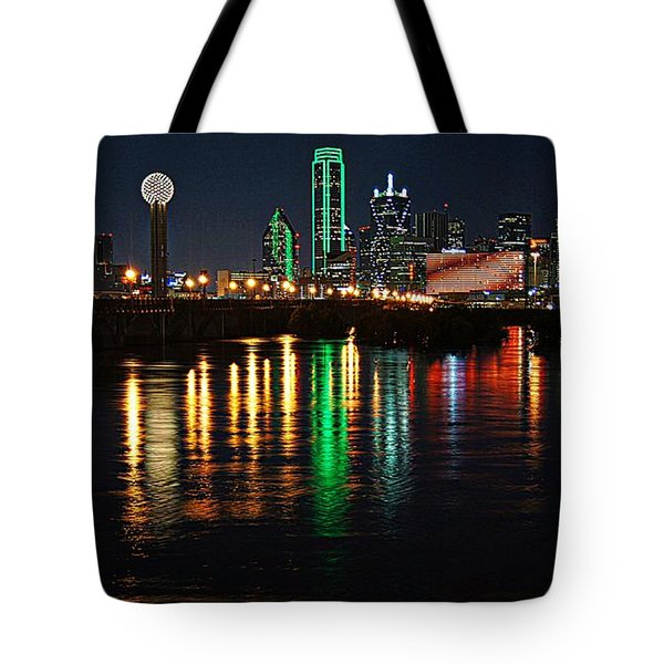 Dallas At Night Tote Bag by Kathy Churchman