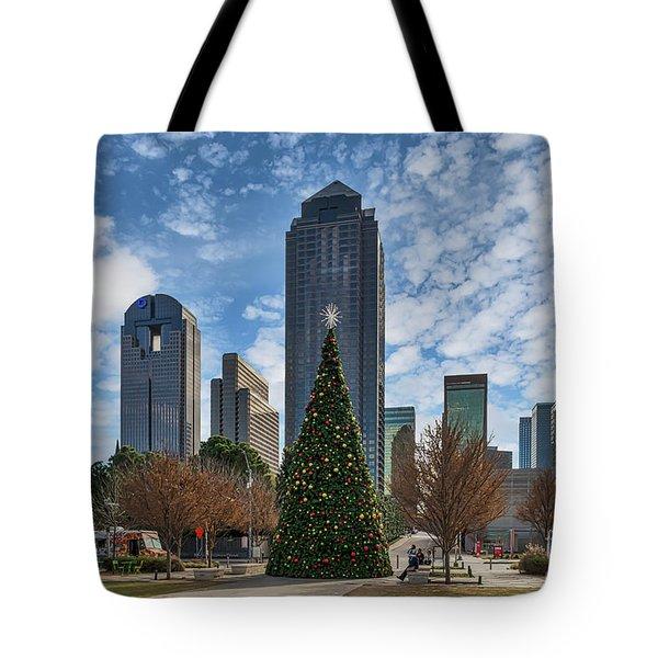Dallas Christmas Scene Tote Bag