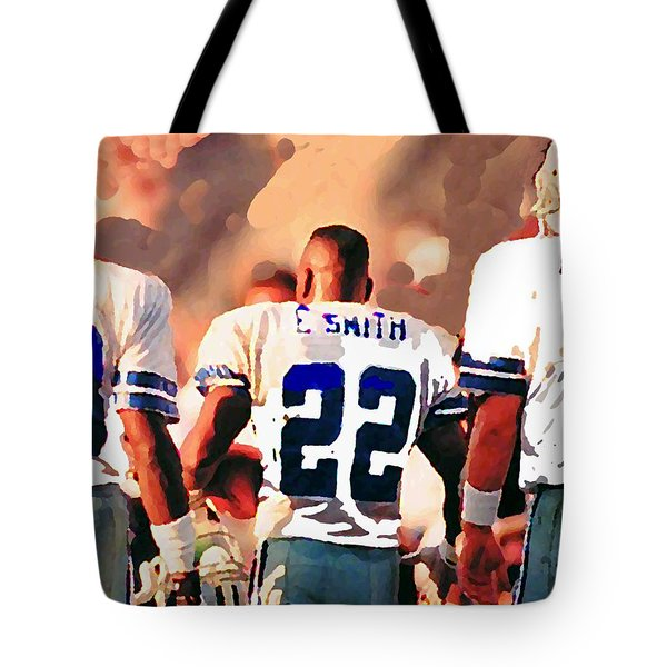 Dallas Cowboys Triplets Tote Bag by Paul Van Scott