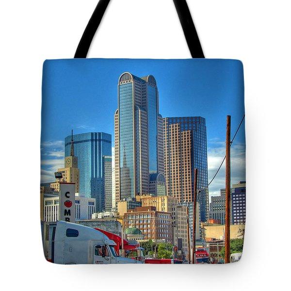 Dallas Morning Skyline Tote Bag by Farol Tomson