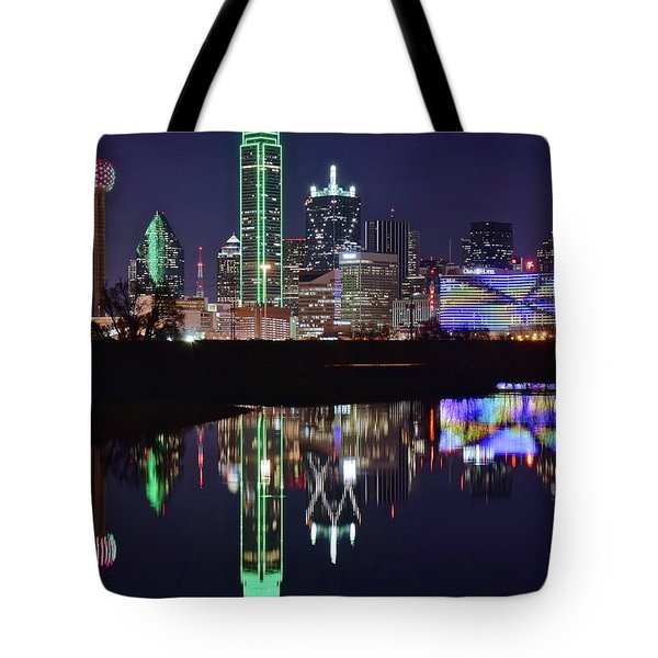 Dallas Reflecting At Night Tote Bag by Frozen in Time Fine Art Photography