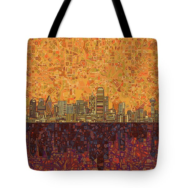 Dallas Skyline Abstract Tote Bag
