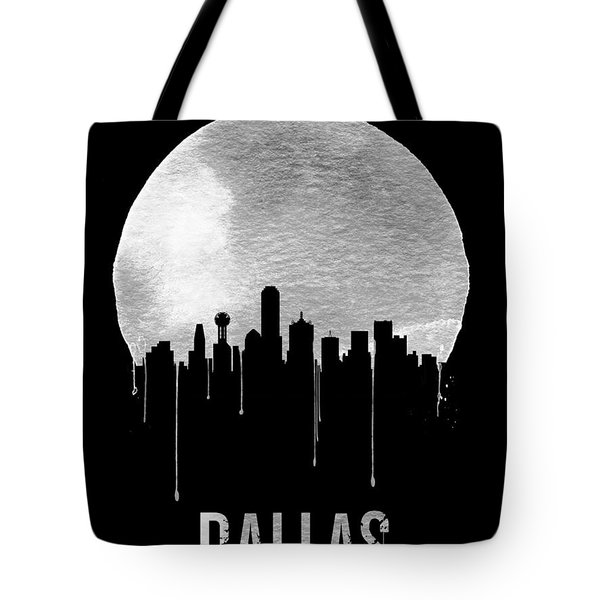 Dallas Skyline Black Tote Bag by Naxart Studio