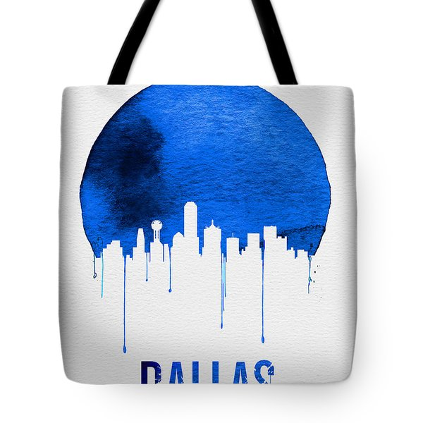 Dallas Skyline Blue Tote Bag by Naxart Studio
