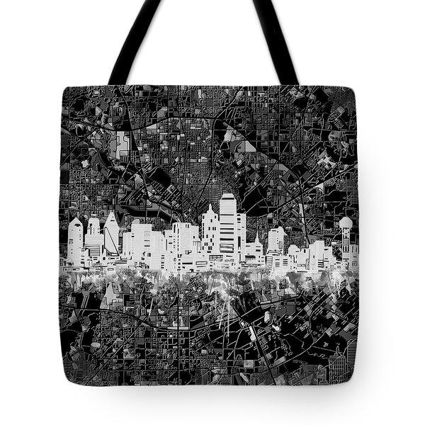Dallas Skyline Map Black And White 5 Tote Bag