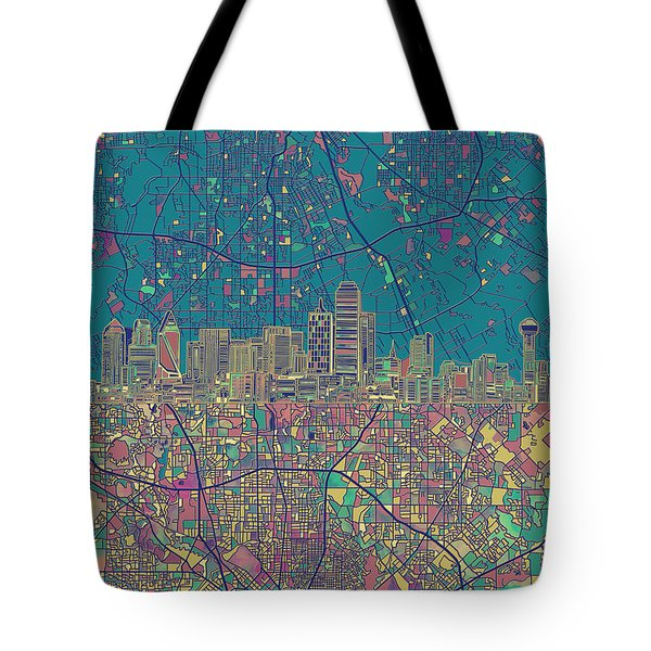 Dallas Skyline Map Green Tote Bag
