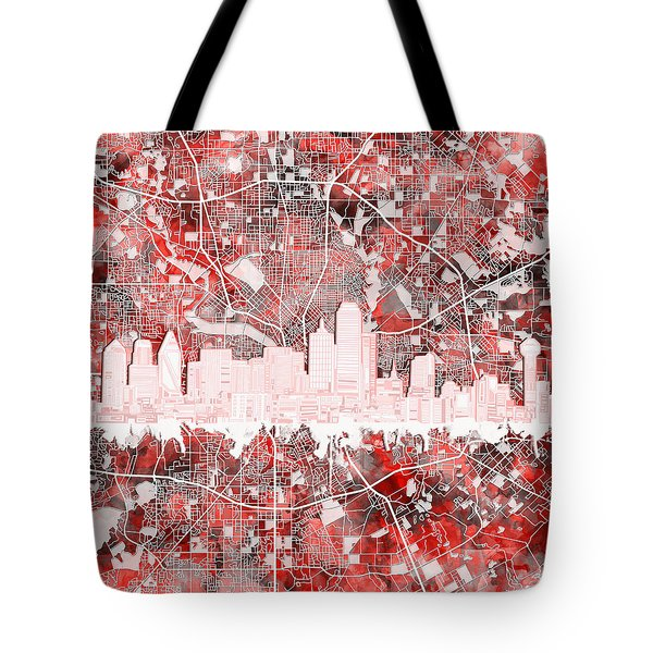 Dallas Skyline Map Red 2 Tote Bag