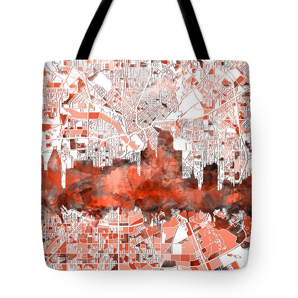 Dallas Skyline Map Red Tote Bag