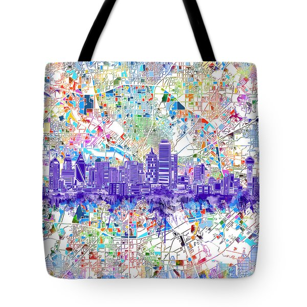 Dallas Skyline Map White 3 Tote Bag