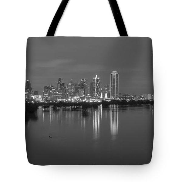 Dallas Skyline Trinity Black And White Tote Bag