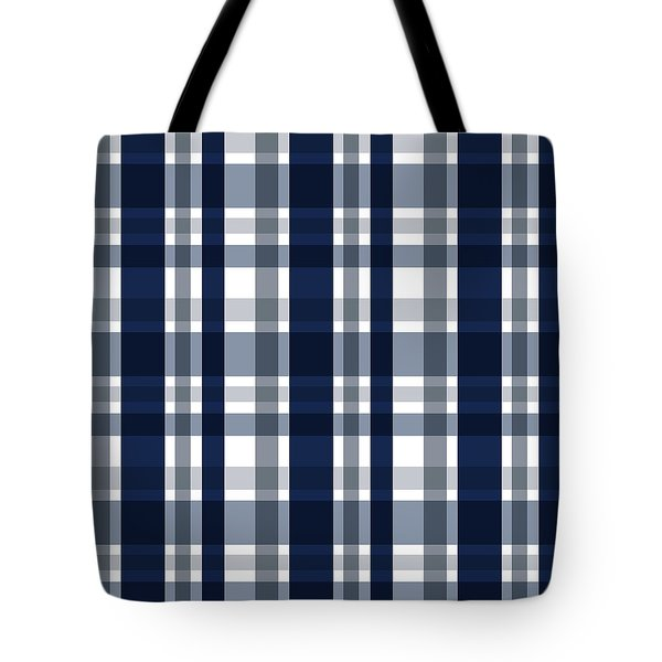 Tote Bag featuring the digital art Dallas Sports Fan Navy Blue Silver Plaid Striped by Shelley Neff
