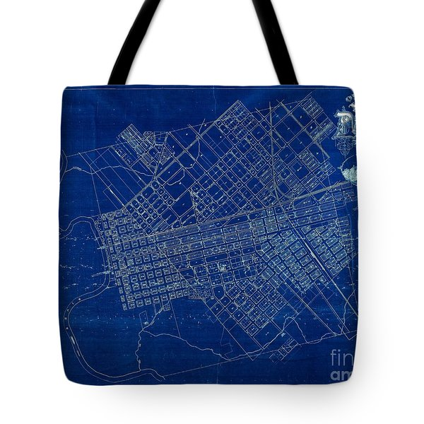 Dallas Texas Official 1875 City Map Blueprint Butterfield And Rundlett Tote Bag