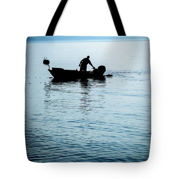 Dalmatian Coast Fisherman Silhouette, Croatia Tote Bag