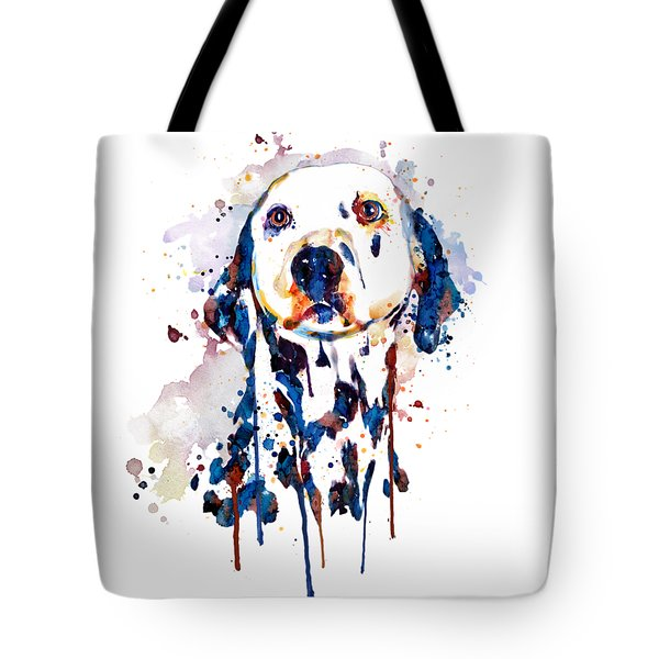 Tote Bag featuring the mixed media Dalmatian Head by Marian Voicu