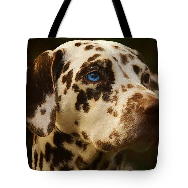 Tote Bag featuring the painting Dalmatian - Painting by Ericamaxine Price