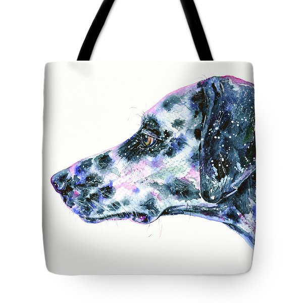 Tote Bag featuring the painting Dalmatian by Zaira Dzhaubaeva