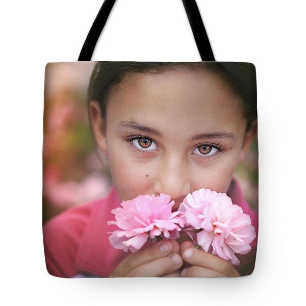 Damask Roses Tote Bag